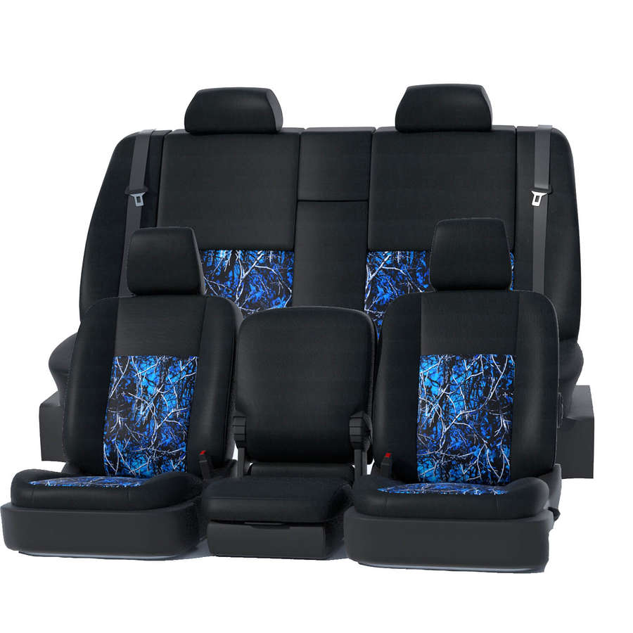 Car Seat Covers for Auto Blue Black 5 Head Rest Split Bench Air Bag Safe