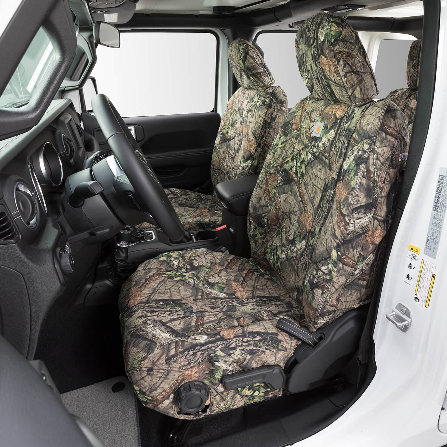 Duck Weave Break-Up Country Covercraft Carhartt Mossy Oak Camo SeatSaver Front Row Custom Fit Seat Cover for Select Jeep Wrangler Models SSC1228CAMB